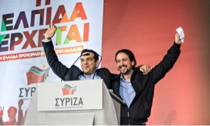 Two Syriza Candidates at a rally